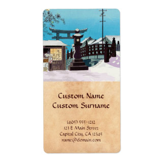 Cool Tomikichiro tokuriki winter snow village town Personalized Shipping Labels