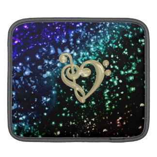 Cool Toned Glitter Gold Music Clef Heart iPad Sleeves