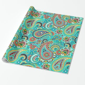 Cool Tones Colorful Retro Paisley