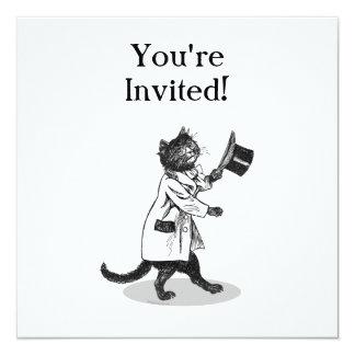 Cool Top Hat Cat Custom Invitation Template