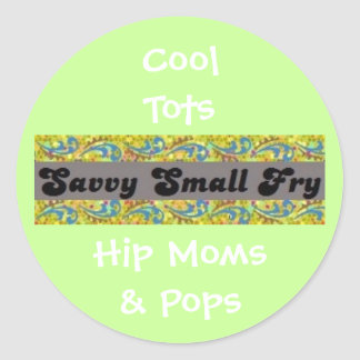 Cool Tots, Hip Moms & Pops Classic Round Sticker