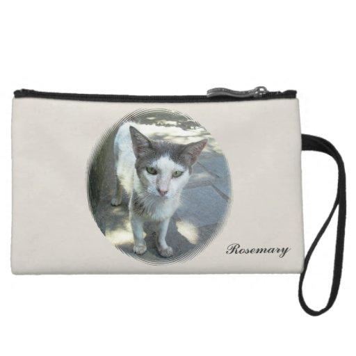 Cool Town Cat Green Eyes Gray Ears Mini Clutch Wristlet Clutch