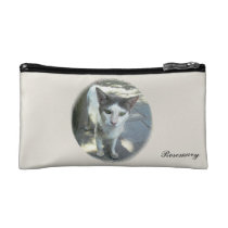Cool Town Cat Green Eyes Small Cosmetic Bag at Zazzle