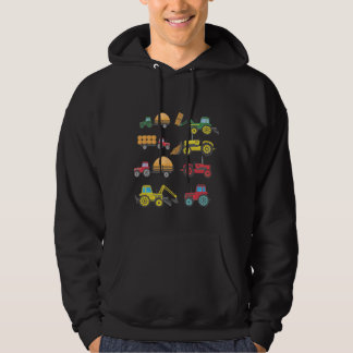 Cool Tractor Drawing Farm Lover Agriculture Kid Hoodie