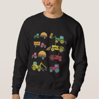 Cool Tractor Drawing Farm Lover Agriculture Kid Sweatshirt