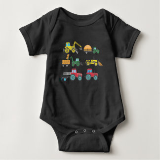 Cool Tractors and Harvesters Collection Farmer Baby Bodysuit