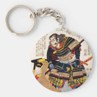 Cool traditional classic japanese warrior samurai basic round button keychain