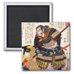 Cool traditional classic japanese warrior samurai 2 inch square magnet