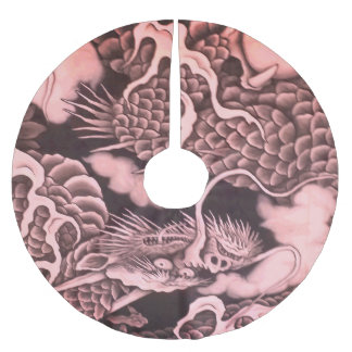 Cool traditional Japanese Dragon Texture Brushed Polyester Tree Skirt