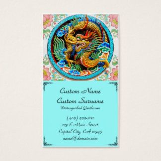 Cool traditional japanese oriental dragon wood art business card