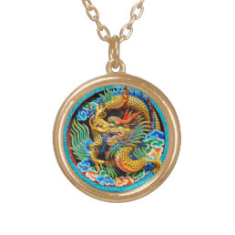 Cool traditional japanese oriental dragon wood art gold plated necklace