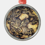 Cool traditional japanese oriental dragon wood art metal ornament