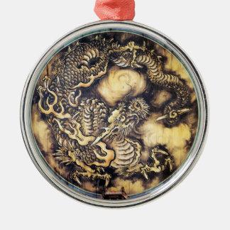 Cool traditional japanese oriental dragon wood art metal ornament