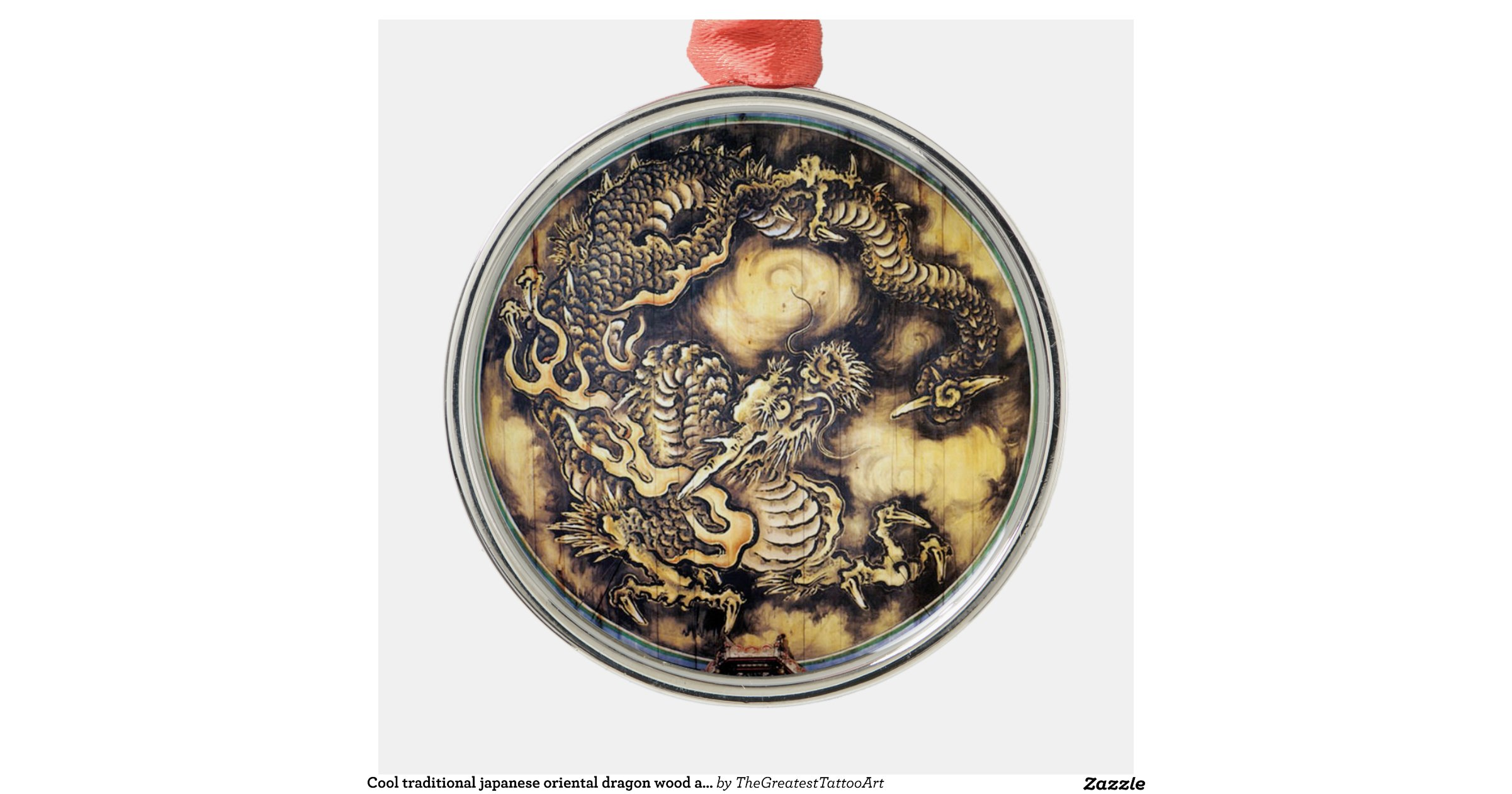 Cool traditional japanese oriental dragon wood art round