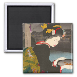 Cool traditional japanese woodprint classic geisha magnet