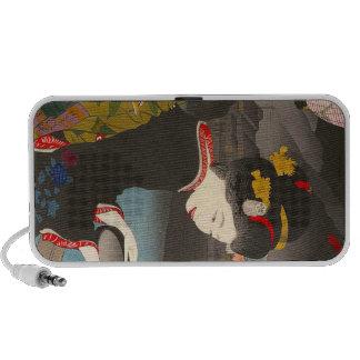 Cool traditional japanese woodprint classic geisha iPod speakers
