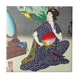 Cool traditional japanese woodprint geisha art ceramic tile