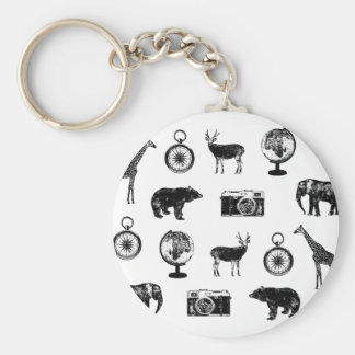 Cool travel icon pattern keychain