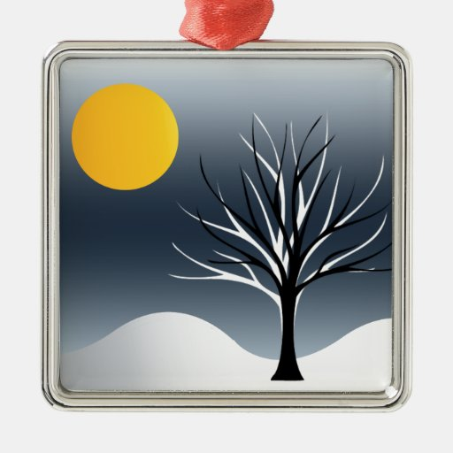 Cool Tree Silhouette Winter Night Scene Square Metal Christmas Ornament