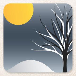 Cool Tree Silhouette Winter Scene Paper Coaster Square Paper Coaster