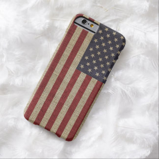 Cool trendy America flag burlap texture Barely There iPhone 6 Case