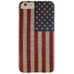 Cool trendy America flag burlap texture Barely There iPhone 6 Plus Case