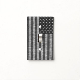 Cool trendy America flag burlap texture effects Light Switch Covers