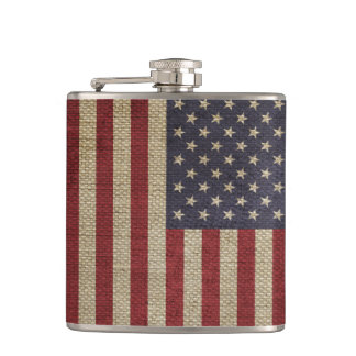 Cool trendy America flag burlap texture Flask