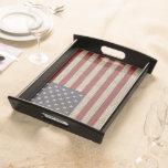 Cool trendy America flag burlap texture Food Trays