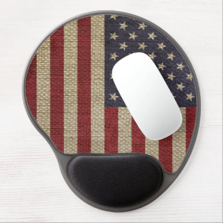Cool trendy America flag burlap texture Gel Mouse Mats