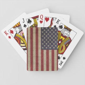 Cool trendy America flag burlap texture Card Deck