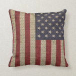 Cool trendy America flag burlap texture Throw Pillow