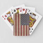 "Cool trendy America flag burlap texture Playing Cards<br><div class=""desc"">Cool trendy America flag burlap texture gunge antique effects, old distressed grunge antique vintage burlap fabric texture, dark blue, red, white, cream faded dark colours. USA, United States of America, states patriotic flag, red white stripes, white blue stars pattern. Personalize it with your name favourite word or phrase by clicking...</div>"