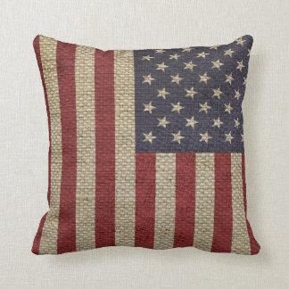 Cool trendy America flag burlap texture Throw Pillow