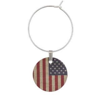 Cool trendy America flag burlap texture Wine Charms