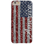 Cool trendy America flag shining faux glitter Barely There iPhone 6 Plus Case