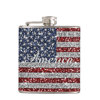 Cool trendy America flag shining faux glitter Flask