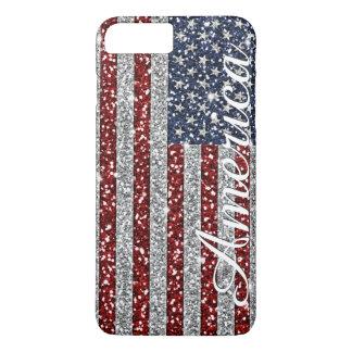 Cool trendy America flag shining faux glitter iPhone 8 Plus/7 Plus Case