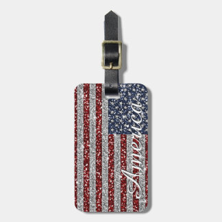 Cool trendy America flag shining faux glitter Tags For Bags