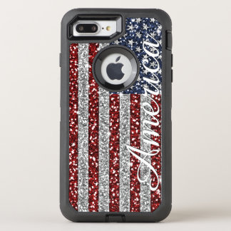 Cool trendy America flag shining faux glitter OtterBox Defender iPhone 7 Plus Case
