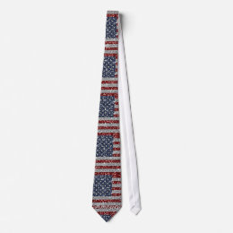 Cool trendy America flag shining faux glitter Tie
