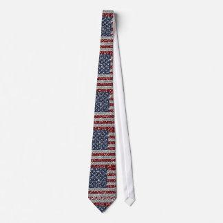 Cool trendy America flag shining faux glitter Tie