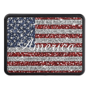 Cool trendy America flag shining faux glitter Trailer Hitch Cover