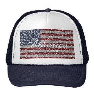 Cool trendy America flag shining faux glitter Trucker Hat