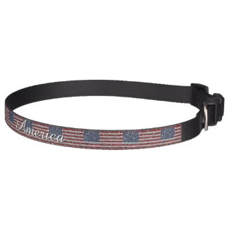 Cool trendy America flag shining faux glitter Pet Collars