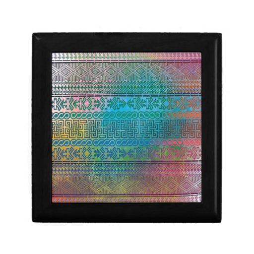 Cool trendy Aztec geometric pattern colourful Jewelry Box