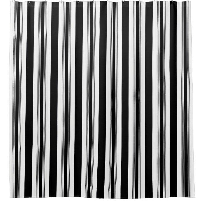 Cool trendy black and white vertical striped shower Black and white striped curtains