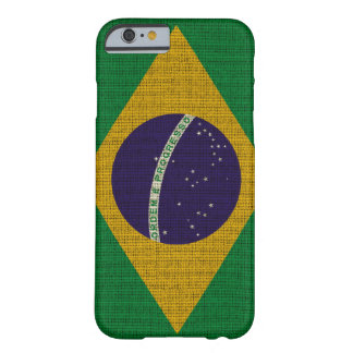 Cool trendy Brazil flag burlap texture Barely There iPhone 6 Case