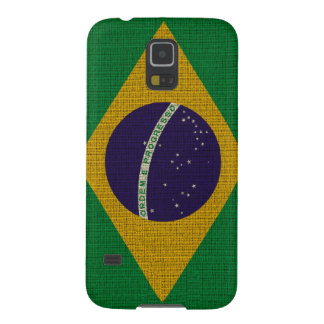 Cool trendy Brazil flag burlap texture Galaxy S5 Cover