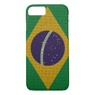 Cool trendy Brazil flag burlap texture iPhone 8/7 Case